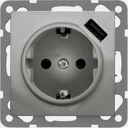 PEHA USB wandcontactdoos 2.1A Badora aluminium (11.6511.70 SI USB)
