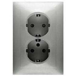 PEHA wandcontactdoos randaarde 2-voudig Badora aluminium (11.6512.70 SI)