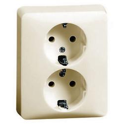 PEHA wandcontactdoos randaarde kindveilig 2-voudig compleet voor enkele inbouwdoos Standard creme (80.6612 SI W)
