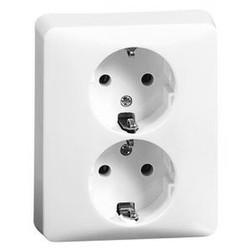 PEHA wandcontactdoos randaarde 2-voudig compleet voor enkele inbouwdoos Standard levend wit (80.6512.02)