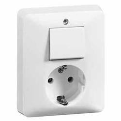 PEHA combinatie wisselschakelaar en wandcontactdoos randaarde Standard levend wit (80.6686.02)