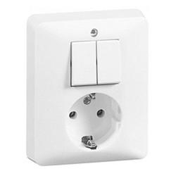 PEHA combinatie serieschakelaar en wandcontactdoos randaarde Standard levend wit (80.6685.02)