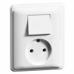 PEHA combinatie wisselschakelaar en wandcontactdoos zonder randaarde Standard levend wit (80.1986.02)