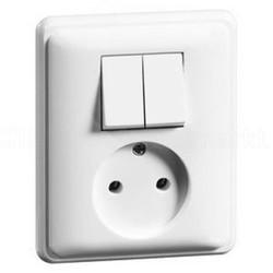PEHA combinatie serieschakelaar en wandcontactdoos zonder randaarde Standard levend wit (80.1985.02)