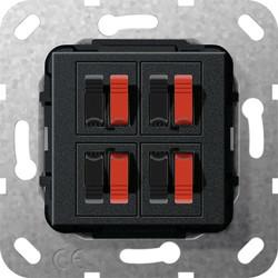 GIRA luidsprekeraansluiting viervoudig zwart mat (569410)