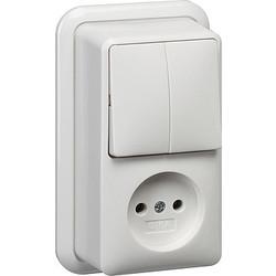 GIRA combinatie serieschakelaar en wandcontactdoos zonder randaarde opbouw wit (047511)