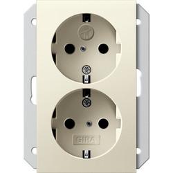 GIRA wandcontactdoos randaarde kindveilig 2-voudig voor anderhalve inbouwdoos Systeem 55 creme glans (273501)
