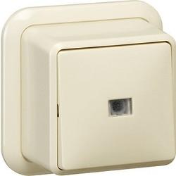 GIRA pulsdrukker maakcontact 1-polig met apart meldcontact opbouw creme (015210)