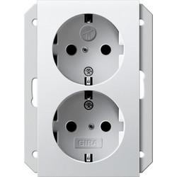 GIRA wandcontactdoos randaarde kindveilig 2-voudig voor anderhalve inbouwdoos Systeem 55 wit mat (273527)