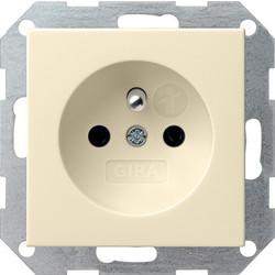 GIRA wandcontactdoos penaarde (Belgie) Systeem 55 creme glans (048501)