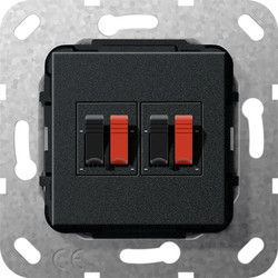 GIRA luidsprekeraansluiting tweevoudig zwart mat (569310)