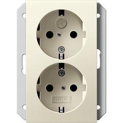 GIRA wandcontactdoos randaarde kindveilig 2-voudig voor enkele inbouwdoos Systeem 55 creme glans (273101)