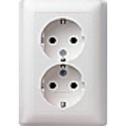 GIRA wandcontactdoos randaarde 2-voudig voor enkele inbouwdoos Systeem 55 wit glans (078803)