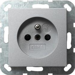 GIRA wandcontactdoos penaarde (Belgie) Systeem 55 aluminium mat (048526)