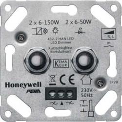PEHA led dimmer serie draai/drukknop duo 2x 6-50W (432-2 HAN LED O.A.)