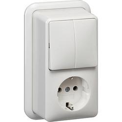 GIRA combinatie serieschakelaar en wandcontactdoos randaarde opbouw wit (017511)