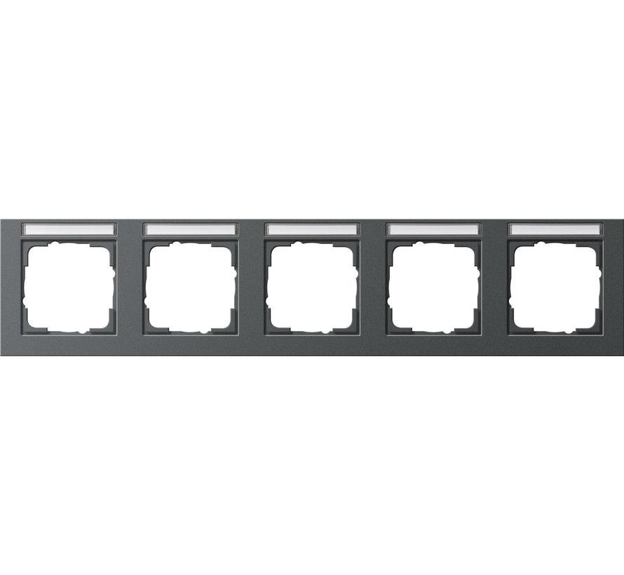 afdekraam 5-voudig horizontaal tekstkader E2 antraciet mat (109523)