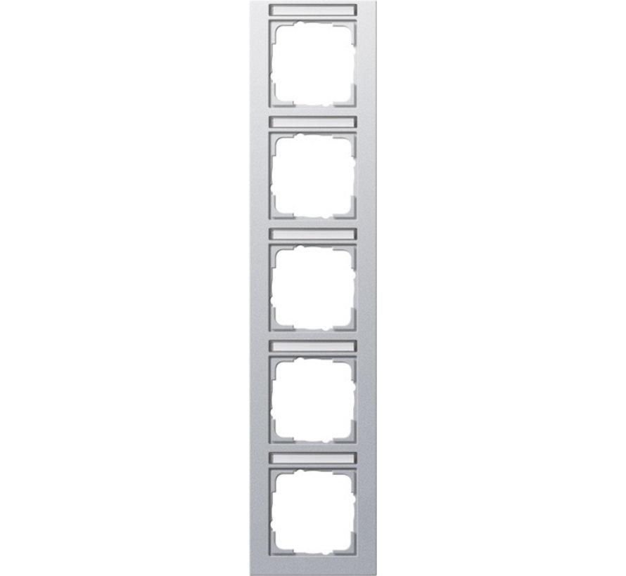 afdekraam 5-voudig verticaal tekstkader E2 aluminium mat (111525)