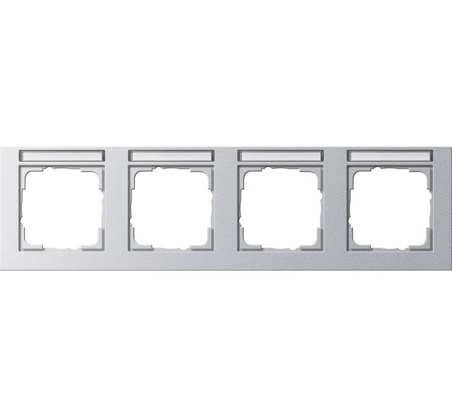 afdekraam 4-voudig horizontaal tekstkader E2 aluminium mat (109425)