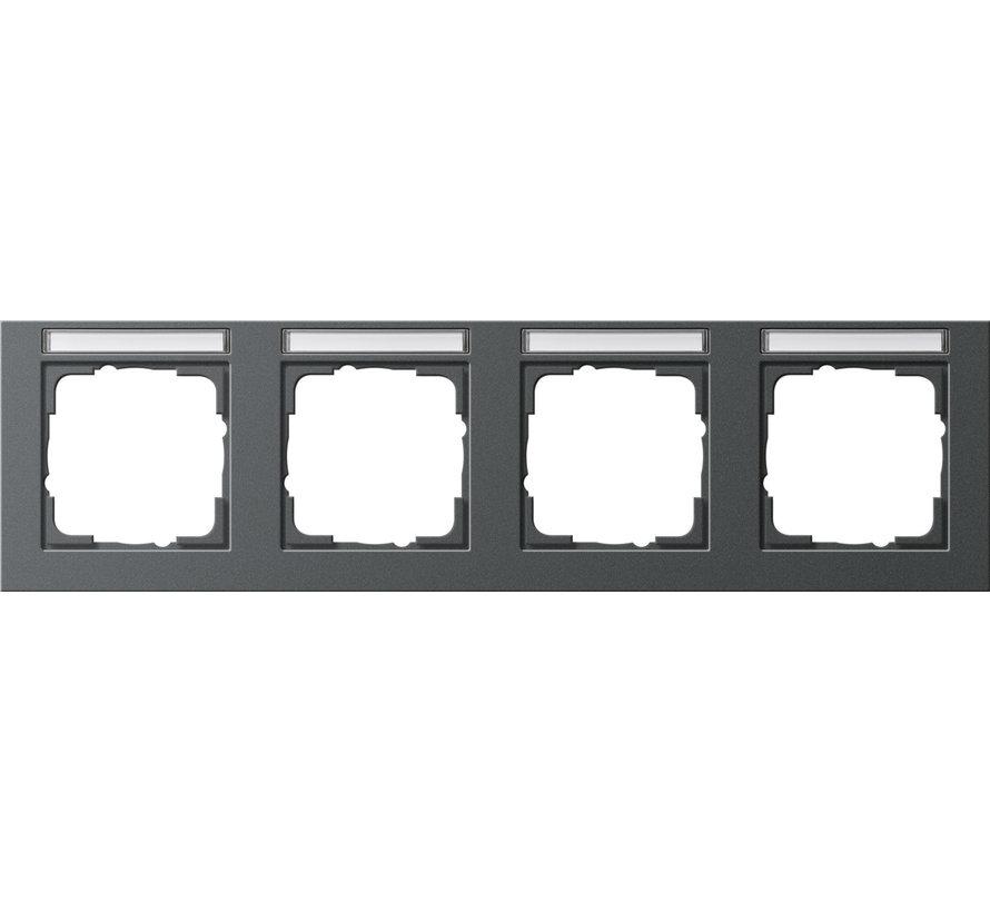afdekraam 4-voudig horizontaal tekstkader E2 antraciet mat (109423)