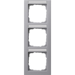 GIRA afdekraam 3-voudig verticaal tekstkader E2 aluminium mat (110325)