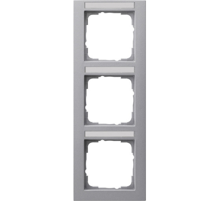 afdekraam 3-voudig verticaal tekstkader E2 aluminium mat (110325)