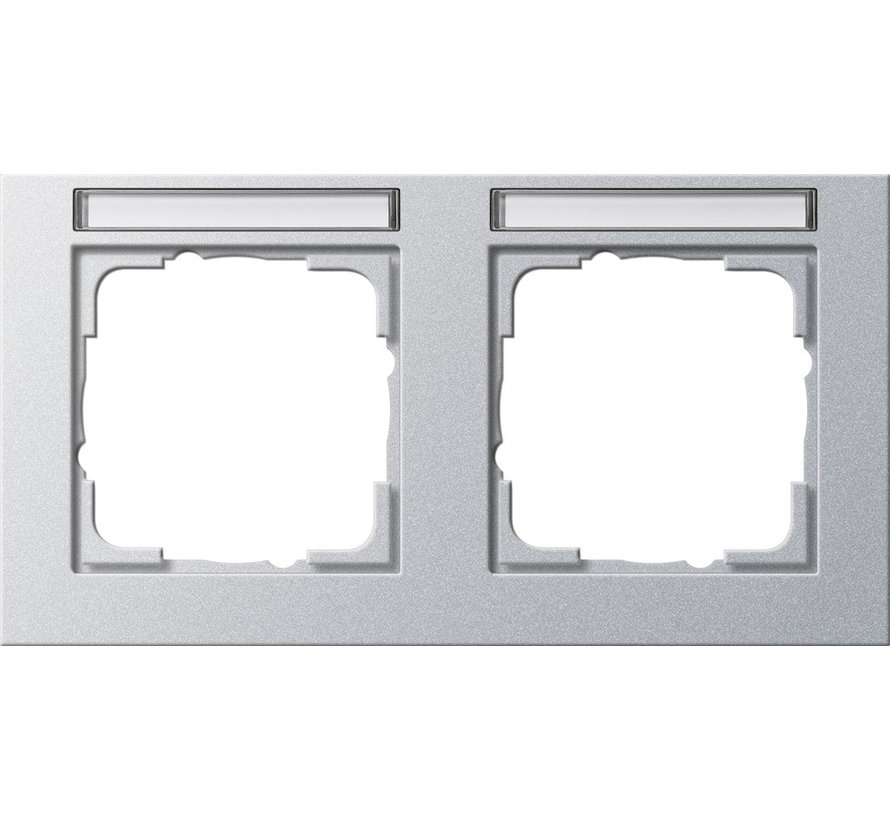 afdekraam 2-voudig horizontaal tekstkader E2 aluminium mat (109225)