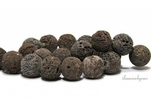 Lavasteen kralen bruin-grijs rond ca. 20mm