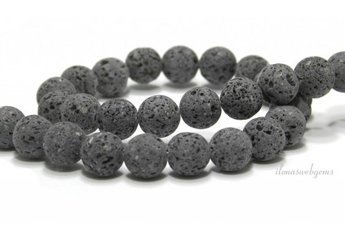 Lavastone beads anthracite gray around 12mm