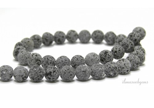 Lavastone beads anthracite gray around 10mm