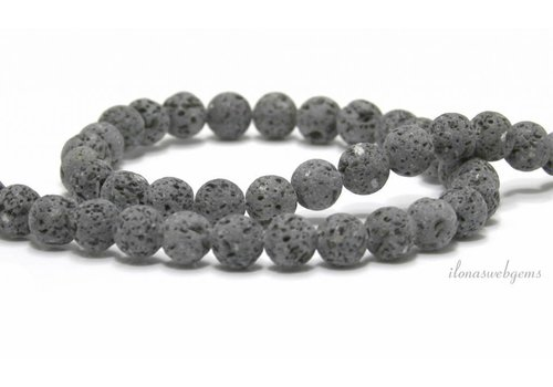 Lava stone beads anthracite gray around 8mm