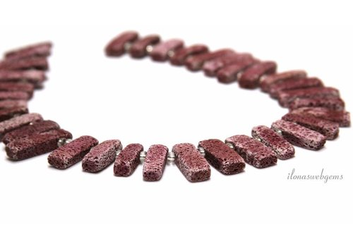 Lava stone beads red ca22x9x5mm