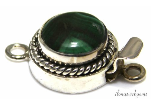 Sterling silver box lock with Malachite