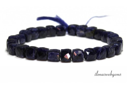 Sodalite beads faceted cube about 10-7mm