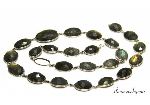 Silver plated chain with Labradorite connectors approx. 15-26mm