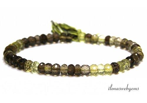 Bio Lemon Quartz beads faceted roundel around 7.5x5mm