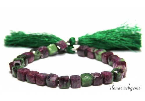 Ruby in Zoisite beads cube approx. 5-8mm