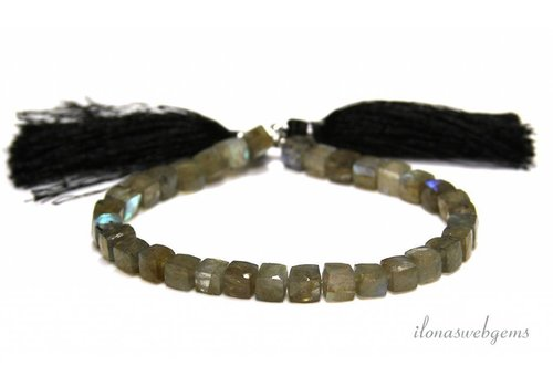 Labradorite faceted cube beads about 6-7mm