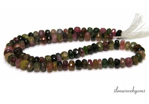 Tourmaline beads facet roundel A quality about 6x4mm