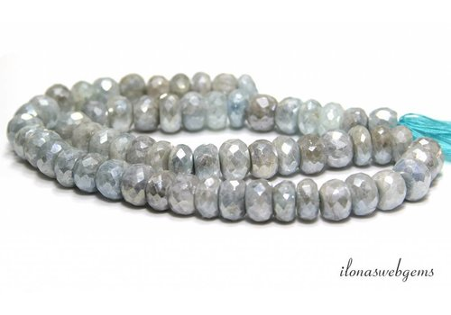 Mystic Moonstone beads faceted roundel around 10x7-5mm