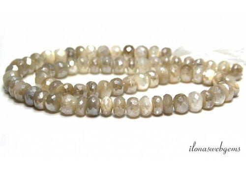 Mystic moonstone beads facet around 8x5-4mm