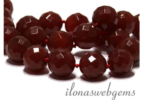 Carnelian - Red Agate beads faceted app. 18mm