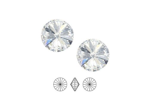 2 pieces Swarovski Rivoli point stone 1122 / 12mm Crystal F