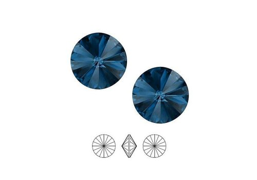 2 pieces Swarovski Rivoli pointstone 1122 / 12mm Denim blue F