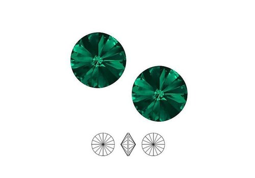 2 pieces Swarovski Rivoli pointstone 1122 / 12mm Emerald F