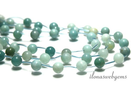 Amazonite beads side drill round app. 10mm