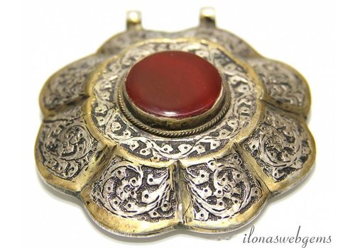 Afghan silver pendant with carnelian / red Agate