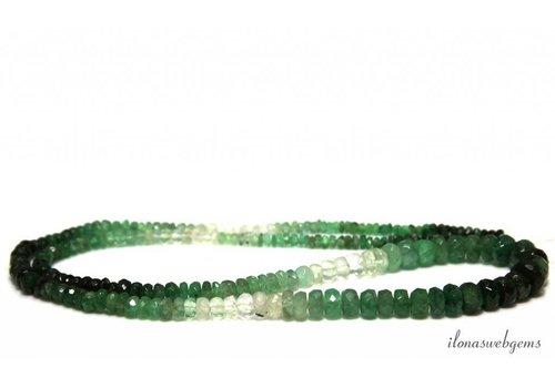 Smaragd kralen facet rondel shaded op- en aflopend van ca. 2.5x1.5 tot 5x3mm