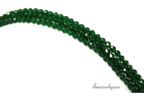 Cubic Zirconia kralen 'Smaragd' facet rond ca. 2.2mm
