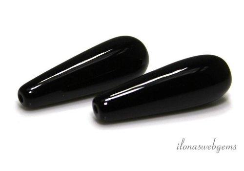 1 paar Onyx pegels  ca. 25x9.5mm